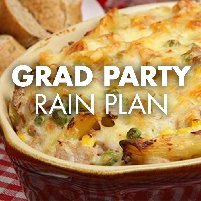 Grad Party Rain Plan, Casserole, baked, bread, indoors