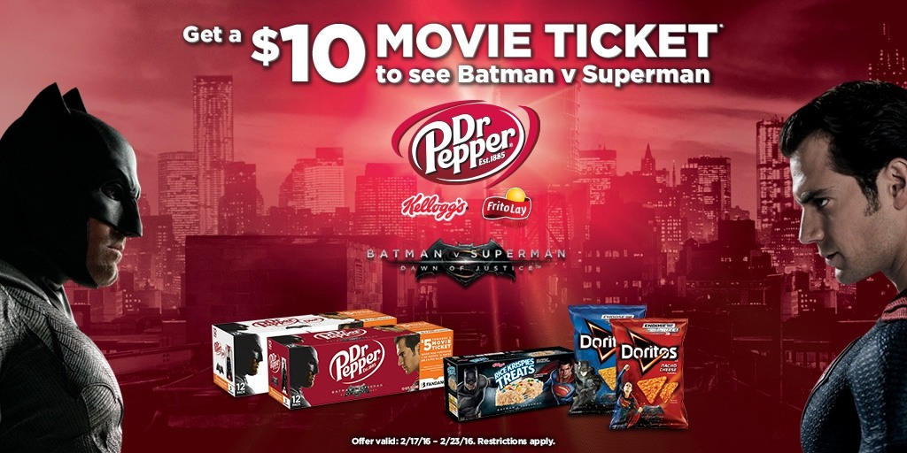 Purchase products to get a $10 movie ticket to see Batman v Superman
