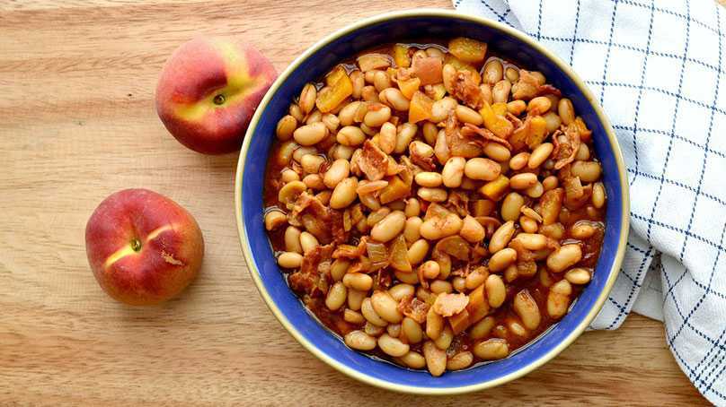 image of Bourbon Peach Baked Beans