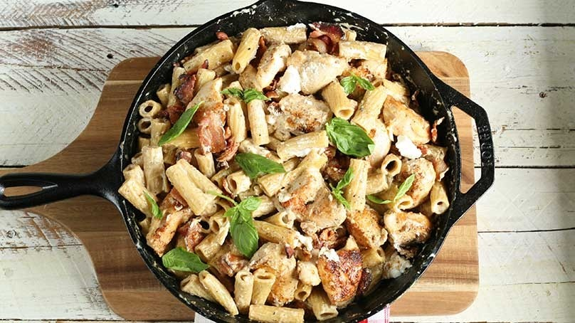 Chicken Bacon and Goat Cheese Pasta