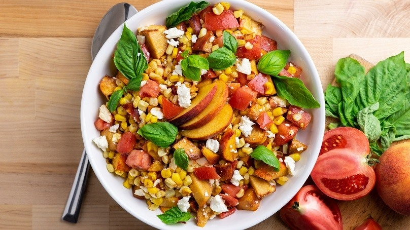 Grilled Corn, Peach and Tomato Salad