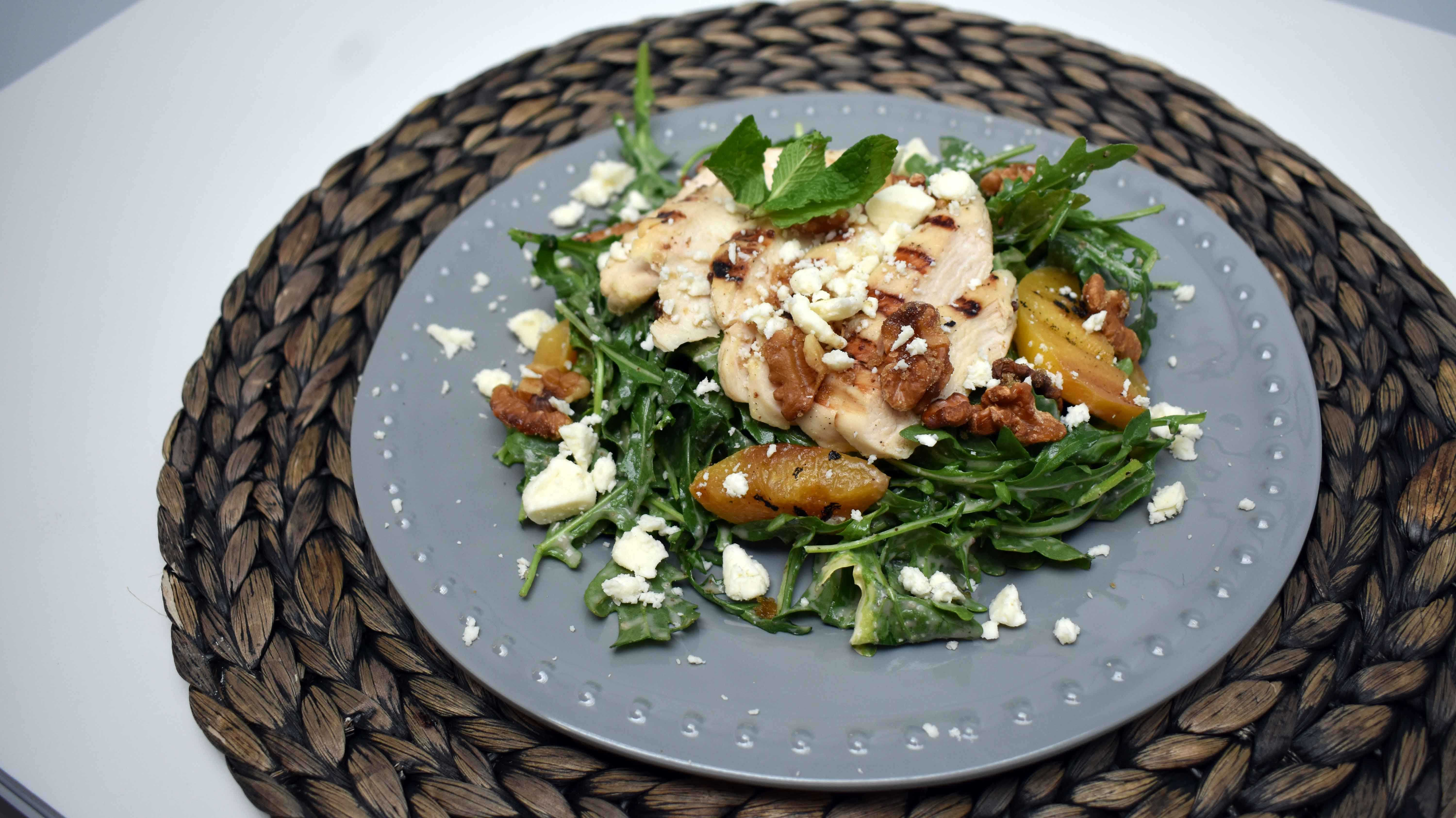image of Grilled Peach Salad with Chicken & Feta with ...