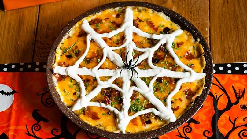 Loaded Mashed Potato Spider Web Casserole