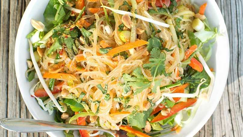 image of Rice Noodle Salad with Fresh Vegetables and H...