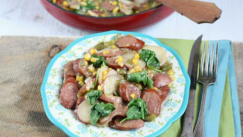image of Sausage and Vegetable Skillet