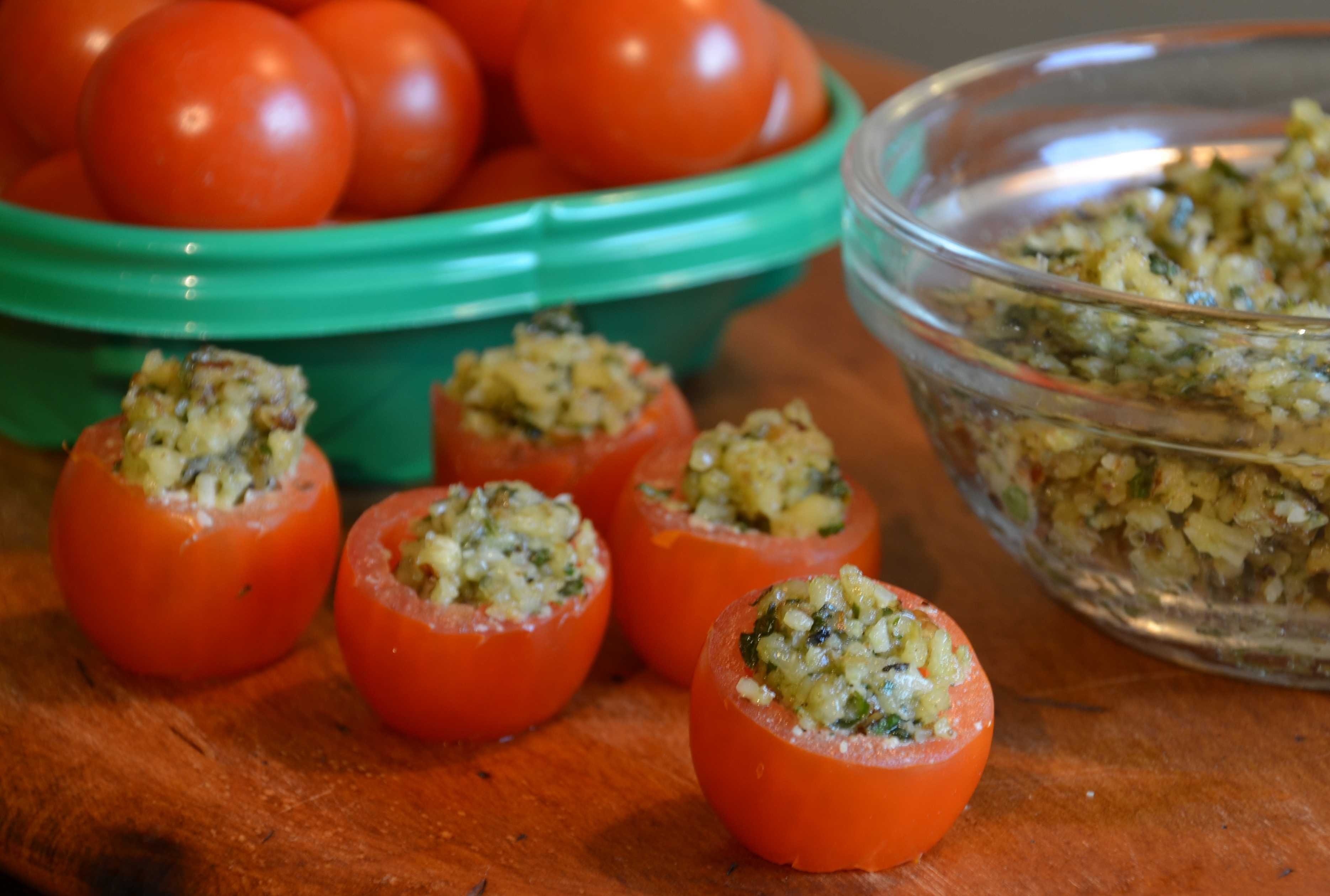 image of Cherry Tomatoes with Walnut Pesto
