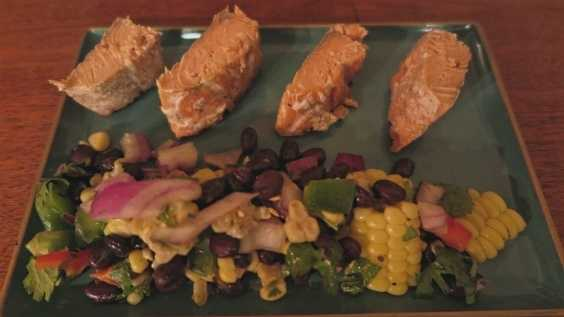 image of Salmon Skewers with Citrusy Bean and Corn Sal...