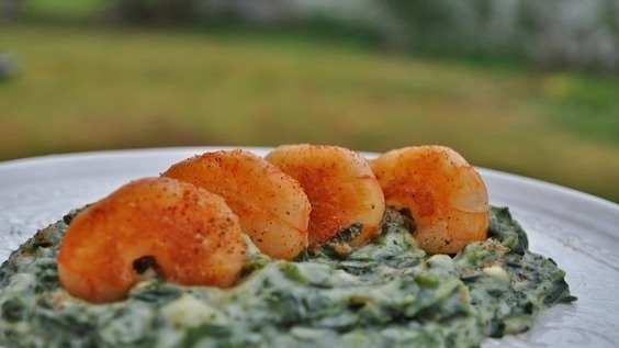 Tangy Creamed Spinach with Crispy Shrimp