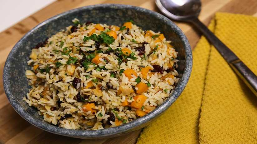 image of Wild Rice and Roasted Butternut Squash Casser...