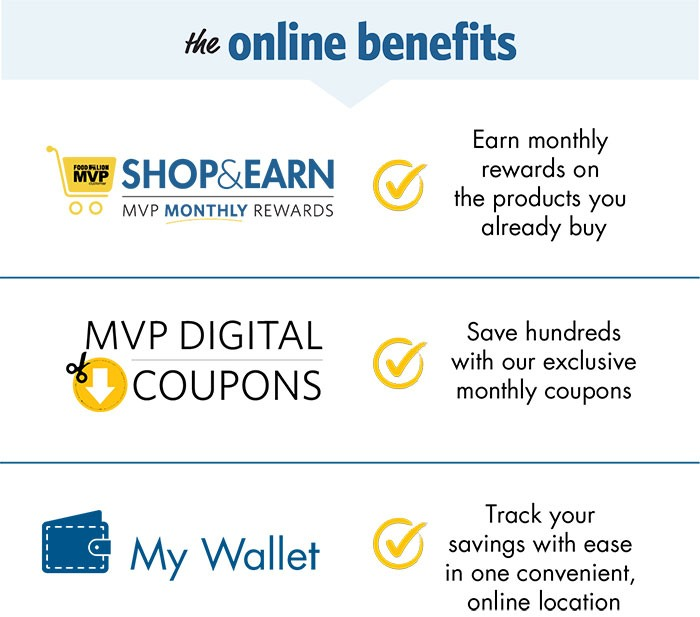 The Online Benefits, Earn monthly rewards on the products you already buy with Shop and Earn, Save hundreds with our exclusive monthly MVP Digital Coupons, Track your savings with ease in one convenient online location