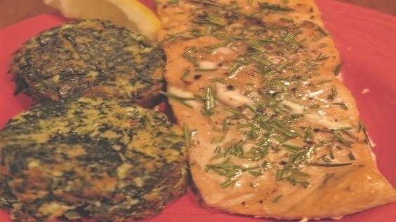 Herb Roasted Salmon with Crispy Spinach Cakes