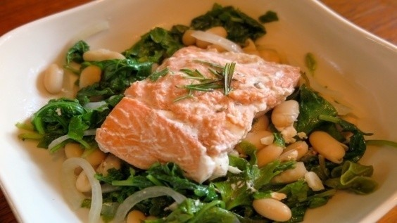 Poached Salmon with Kale and White Beans